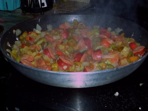 Peppers & Linguica in the pan