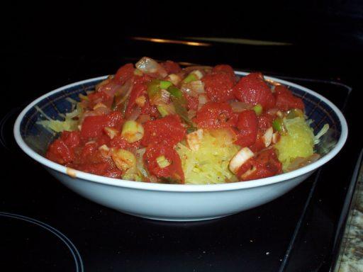 Spaghetti Squash and a tomato sauce